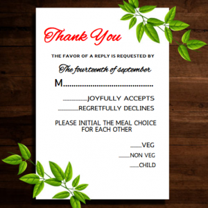 Wedding response floral card wording