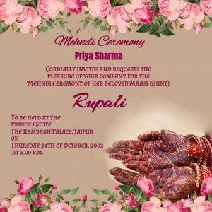 Mehndi Invitation floral ecards