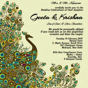 Peacock design wedding e card
